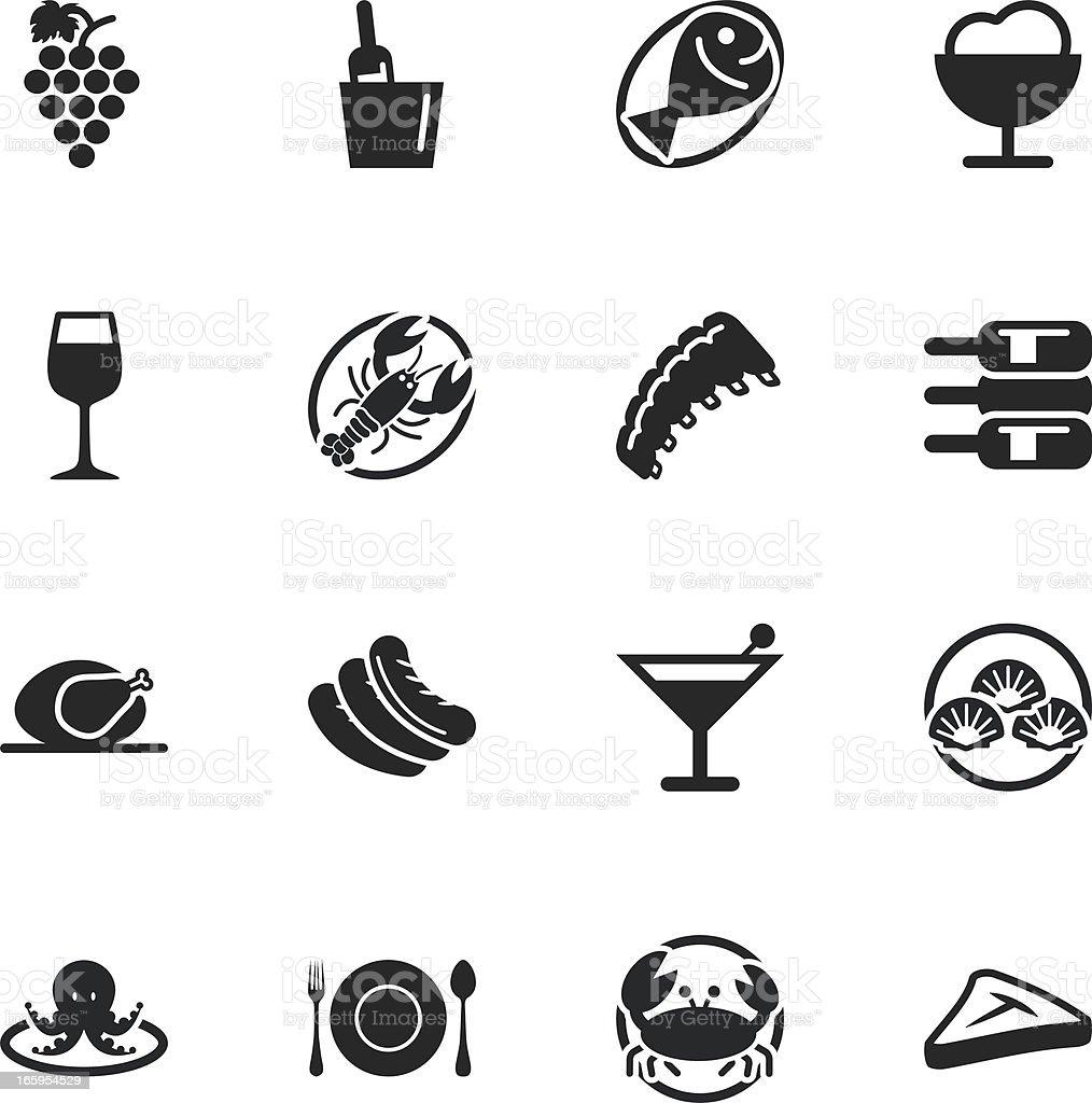 Dinner Silhouette Icons vector art illustration