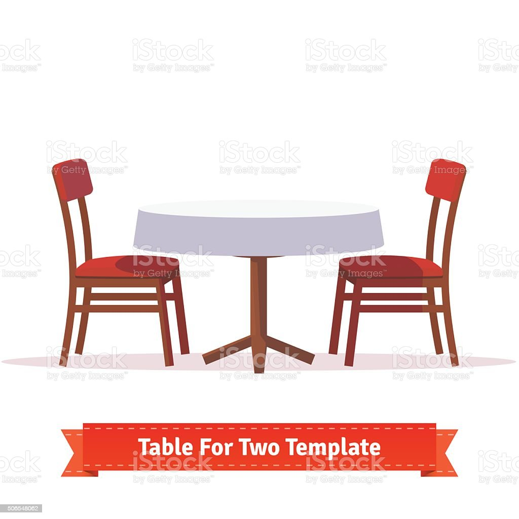 Dinner table for two with white cloth and chairs vector art illustration