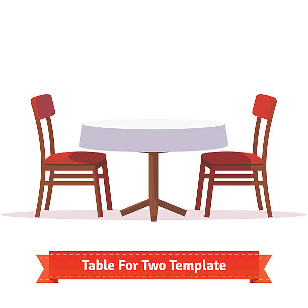 stockillustraties, clipart, cartoons en iconen met dinner table for two with white cloth and chairs - breakfast table