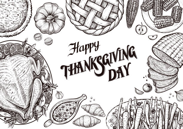 Dinner table, top view. Template with vector illustrations of food for tradition Thanksgiving day menu. Dinner table, top view. Template with vector illustrations of food and calligraphy for tradition Thanksgiving day menu. Turkey, vegetables, cranberry sauce, glazed carrots, pumpkin pie, ham and corn. cooking black and white stock illustrations