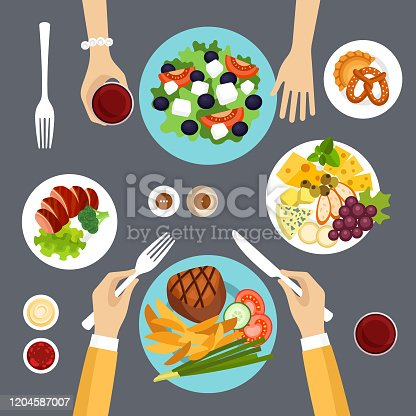 Dining couple vector illustration
