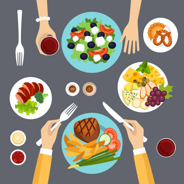 illustrazioni stock, clip art, cartoni animati e icone di tendenza di dinner table top view vector illustration - galateo a tavola