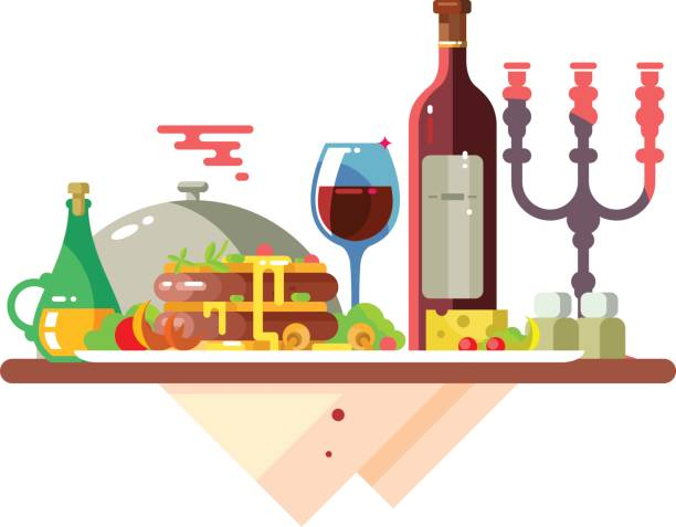 stockillustraties, clipart, cartoons en iconen met diner tafel met eten in restaurant - breakfast table