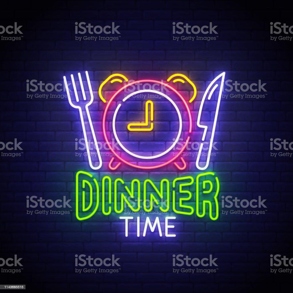 Dinner Time neon sign, bright signboard, light banner. Dinner logo...