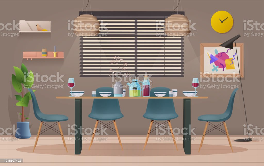 Ilustración De Interior De Sala Comedor Con Muebles Vector
