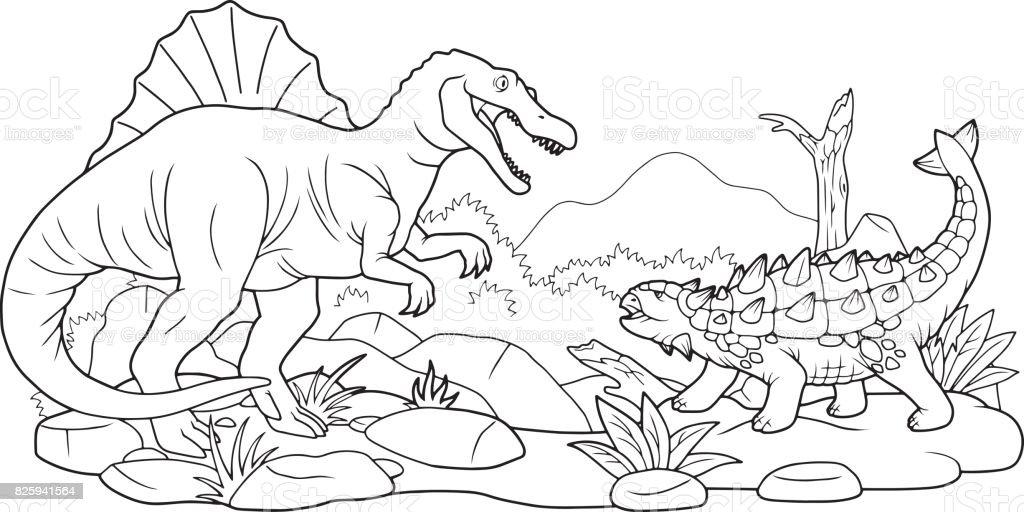 dino battle, coloring book vector art illustration