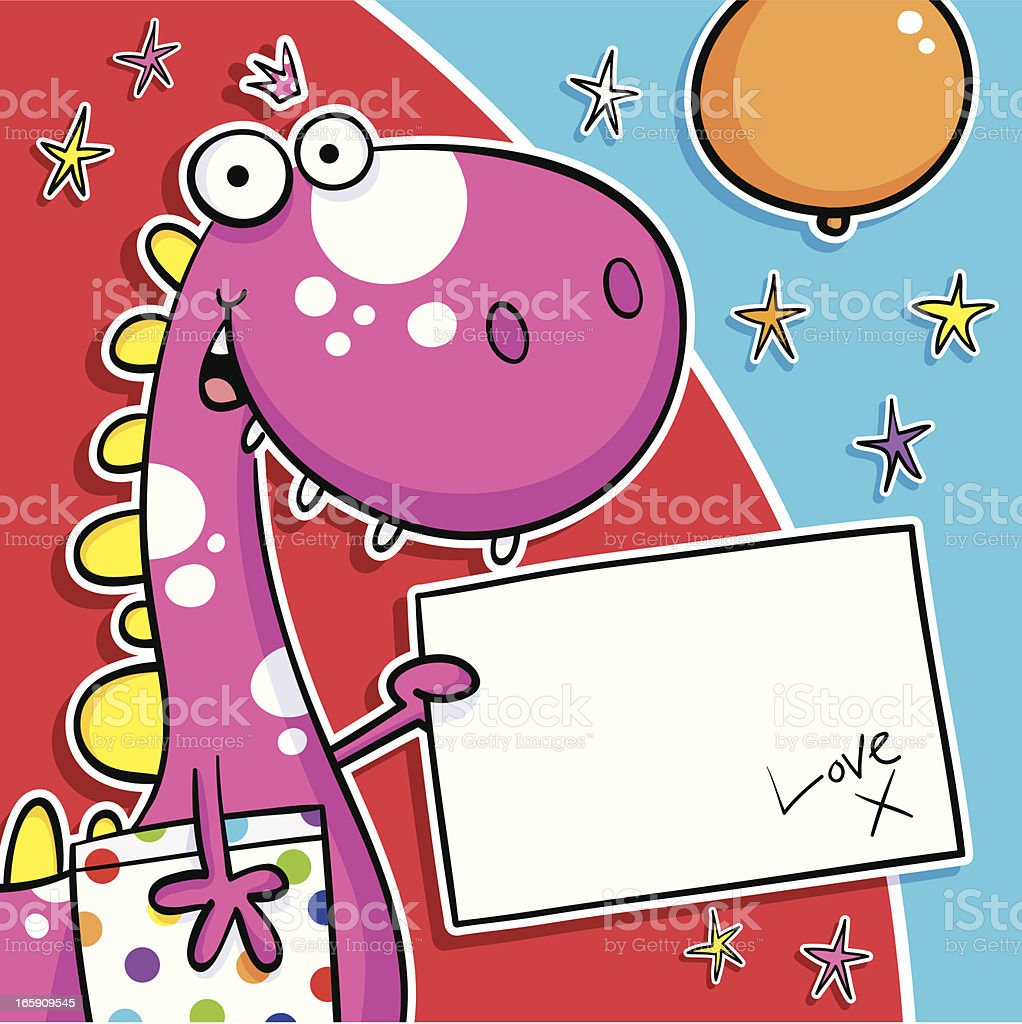 Dino Bday Gift & Card royalty-free dino bday gift card stock vector art & more images of animal