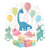 Lovely card with funny dinosaurs.