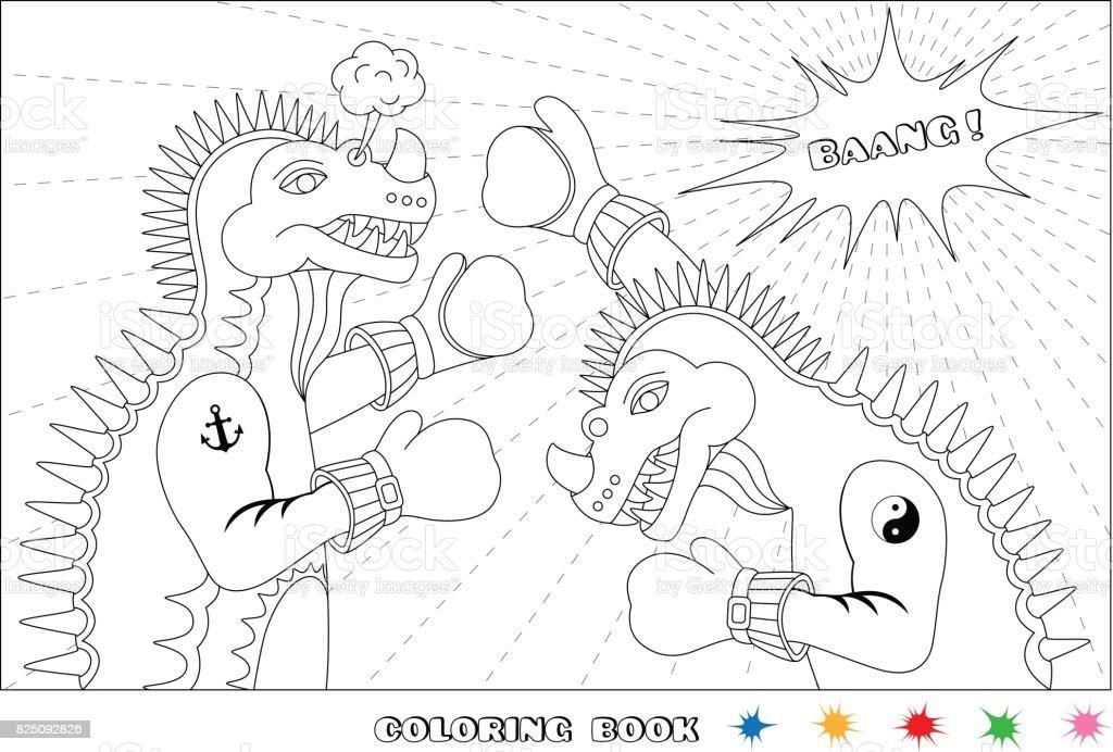 dino boxing vector art illustration
