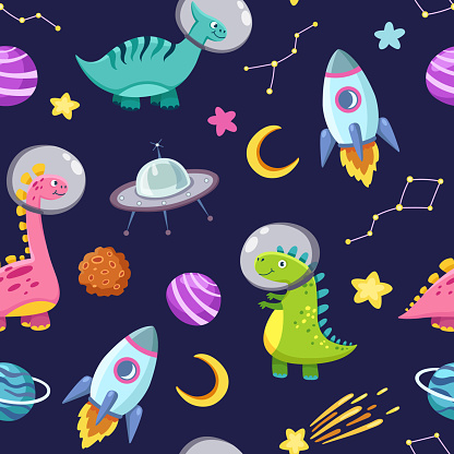 Dino in space seamless pattern. Cute dragon characters, dinosaur traveling galaxy with stars, planets. Kids cartoon vector background