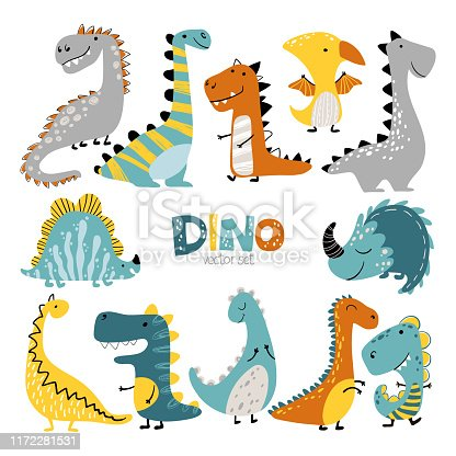 Dinosaurs vector set in cartoon scandinavian style. Colorful cute baby illustration is ideal for a children s room.