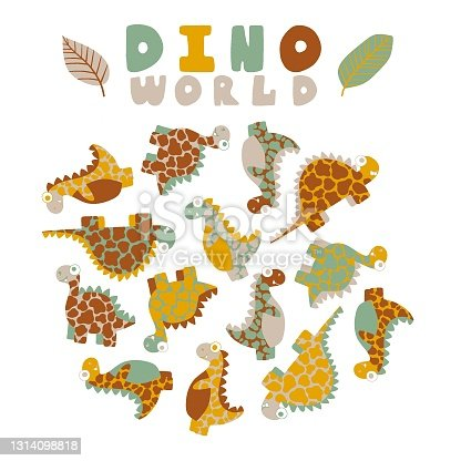 Dino world by pastel natural colors print with dinosaurs and leaves isolated on white background stock vector illustration