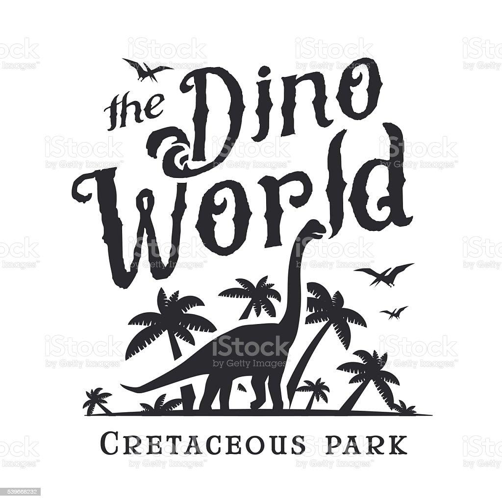 Dino World Print Template Dinosaur Park Label Diplodoc Tshirt Stock ...