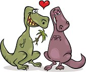 Valentines Day Cartoon Illustration of Funny Dinos Couple in Love