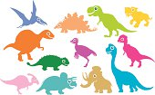Set of assorted dinosaurs in colorful cut-outs.