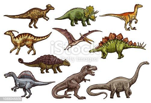 Dinosaur animal icons of prehistoric reptile monsters. Dino sketches of triceratops, tyrannosaurus rex and stegosaurus, brontosaurus, spinosaurus and velociraptor, pteranodon and ankylosaurus