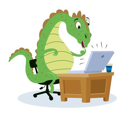 Dinosaur at computer home office