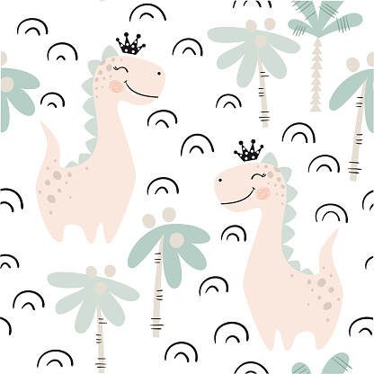 Dinosaur baby girl seamless pattern. Sweet dino princess with crown. Scandinavian cute print