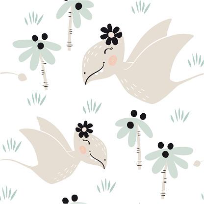 Dinosaur baby girl seamless pattern. Sweet dino princess with flower. Scandinavian cute print