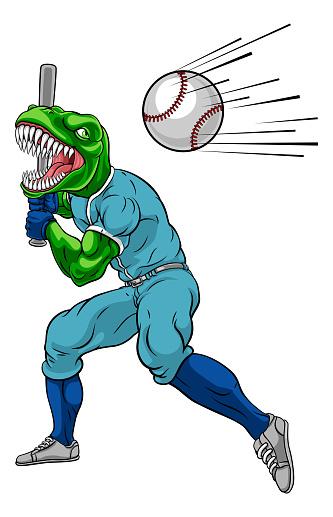 Dinosaur Baseball Player Mascot Swinging Bat