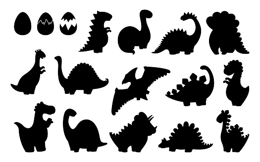 Dinosaur black silhouette set shape vector