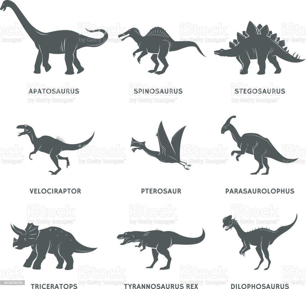 Silhueta de dinossauro preto com nomes - ilustração de arte em vetor
