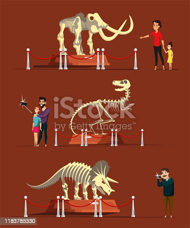 Dinosaur bones exhibition flat vector illustration. Museum visitors cartoon characters. Mother with child, man and couple taking photos. Prehistoric animals skeletons, educational exposition