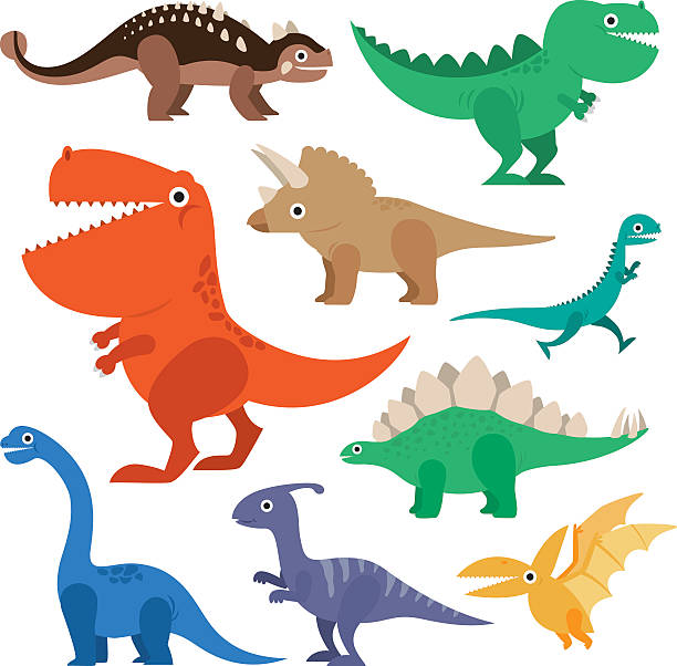 ilustraciones, imágenes clip art, dibujos animados e iconos de stock de dinosaur cartoon collection set vector illustration - dinosaurio
