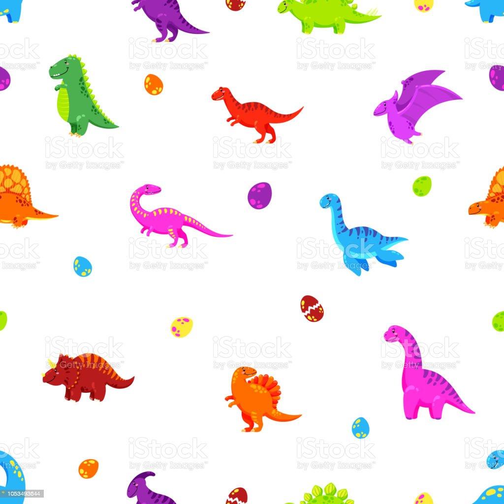 Dinosaurier Cartoon Vektor Hintergrund Nahtlose Muster Texturen Wallpaper Stock Vektor Art Und Mehr Bilder Von Ausgestorbene Tierart
