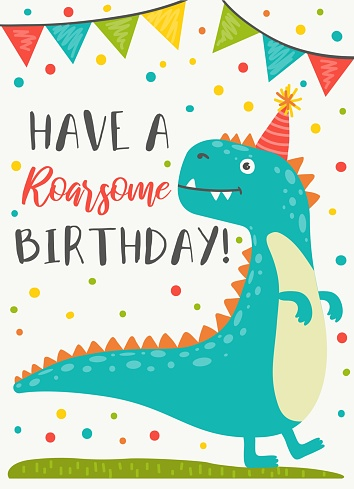 Dinosaur character Happy Birthday greeting card
