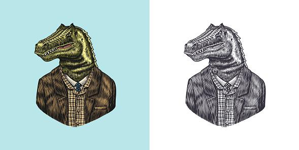 Dinosaur character in coat. Allosaurus tyrex gentleman. Fashionable animal, vitorian gentleman in a jacket. Hand drawn Engraved old monochrome sketch. Vector illustration for t-shirt, tattoo