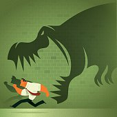 dinosaur chasing businessman