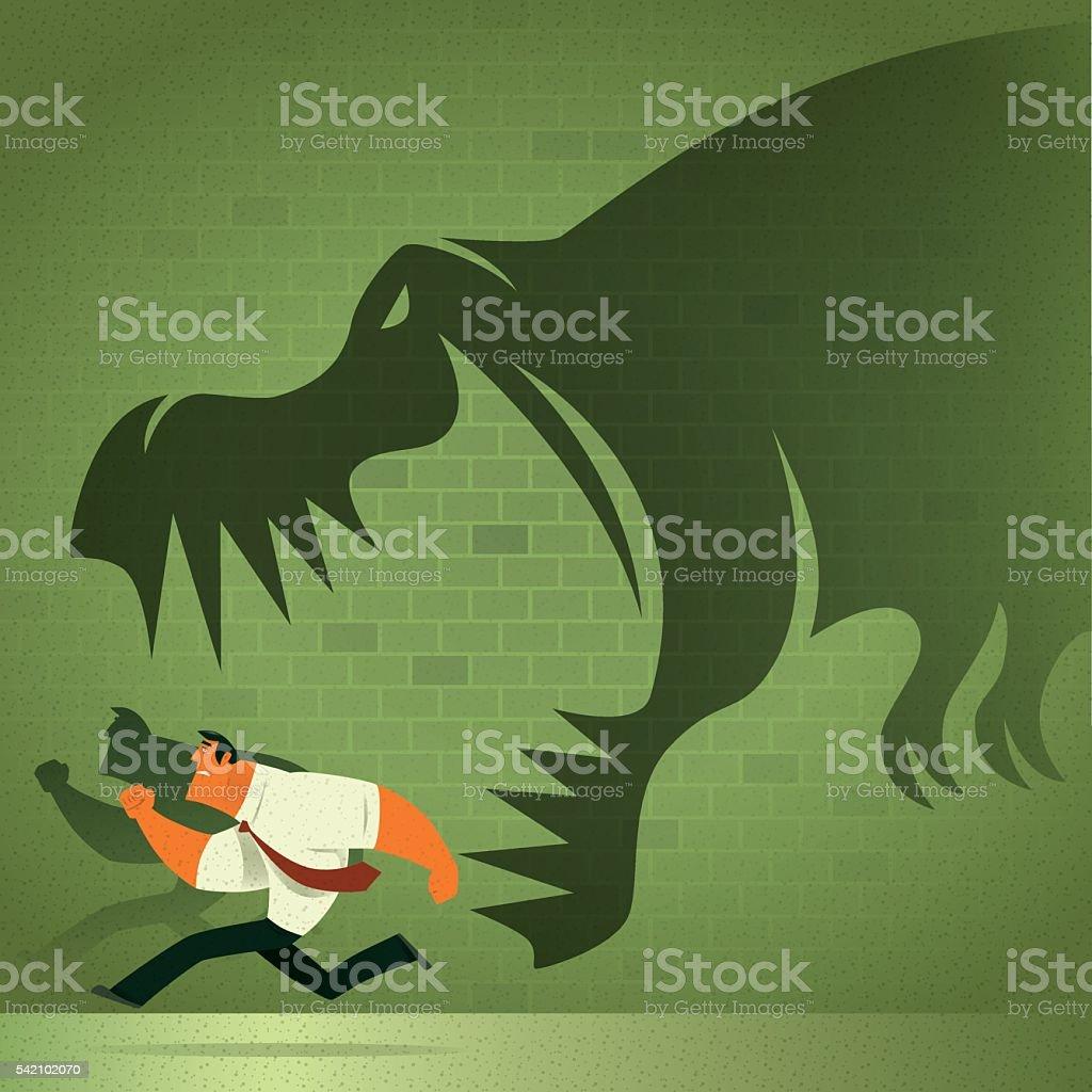 dinosaur chasing businessman vector art illustration