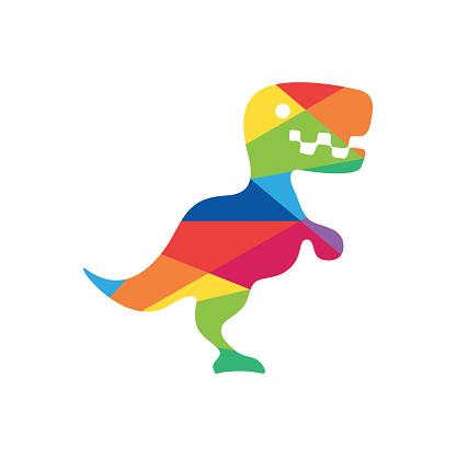 Dinosaur colorful logo design