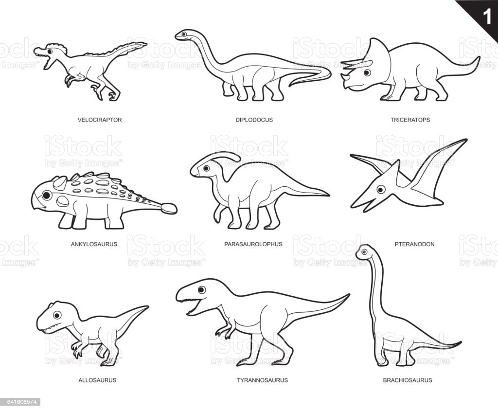 dinosaur coloring book cartoon vector illustration set 1 stock vector art more images of. Black Bedroom Furniture Sets. Home Design Ideas