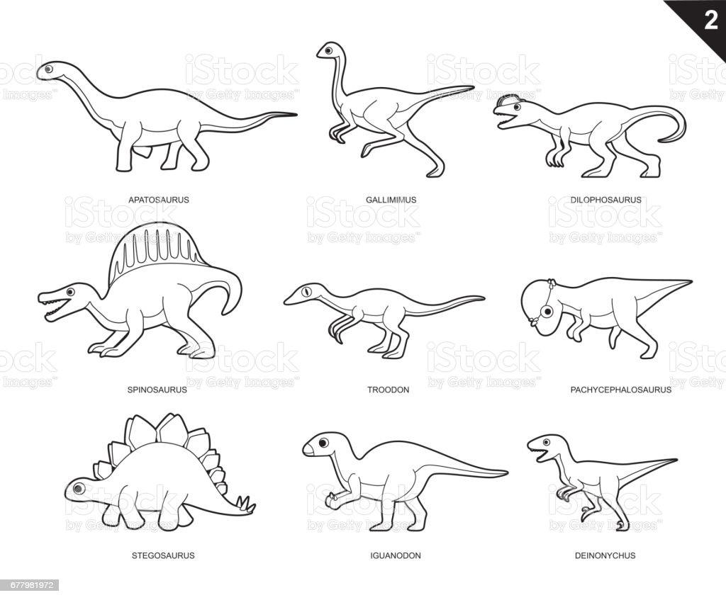 Dinosaur Coloring Book Cartoon Vector Illustration Set 2 Stock Illustration Download Image Now Istock