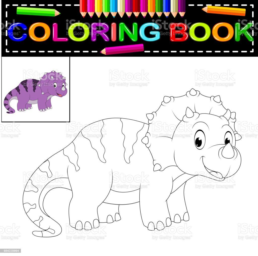 Dinozor Boyama Kitabi Stok Vektor Sanati Animasyon Karakter Nin