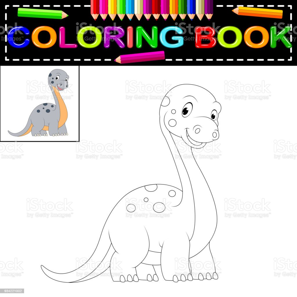 Dinosaur Coloring Book Stock Vector Art & More Images of Ancient ...