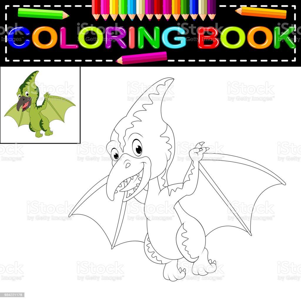 Dinozor Boyama Kitabı Stok Vektör Sanatı Animasyon Karakternin