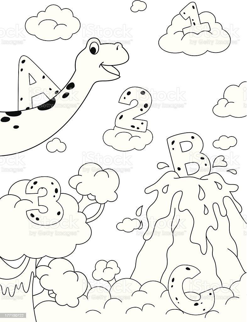 Dinosaur Coloring Scene royalty-free stock vector art