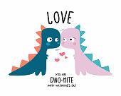 Dinosaur couple lover happy valentine's day cartoon doodle vector illustration