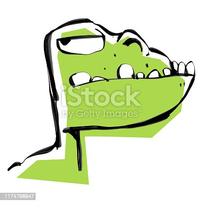 Vector illustration of a cute and green dinosaur looking over his shoulder. Cartoon style illustration ideal for children's books illustrations, designs, ideas and concepts.