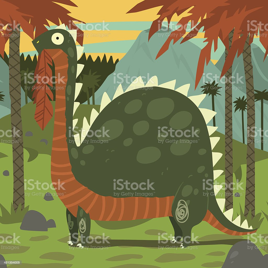 Dinosaur Eating Leaves vector art illustration