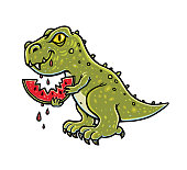 Dinosaur eating watermelon. Cartoon funny character. Hand-drawn illustration isolated on white.