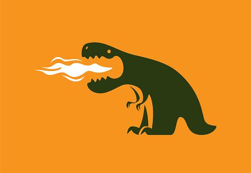 dinosaur exhaling fire
