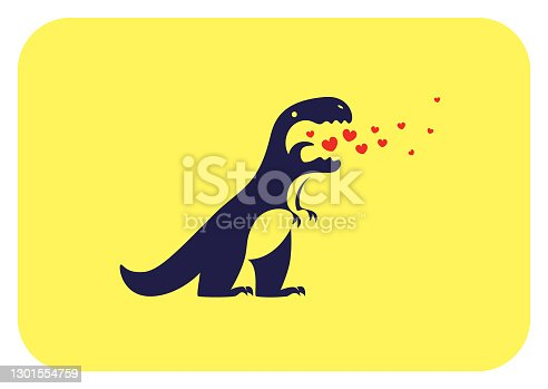 dinosaur exhaling heart symbols