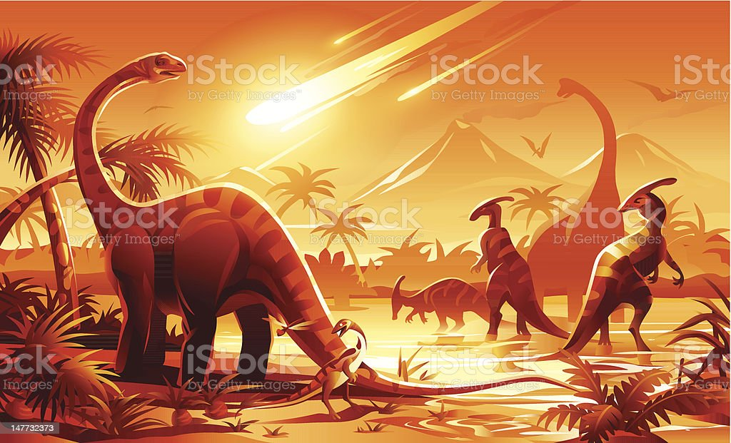 Dinosaur Extinction vector art illustration