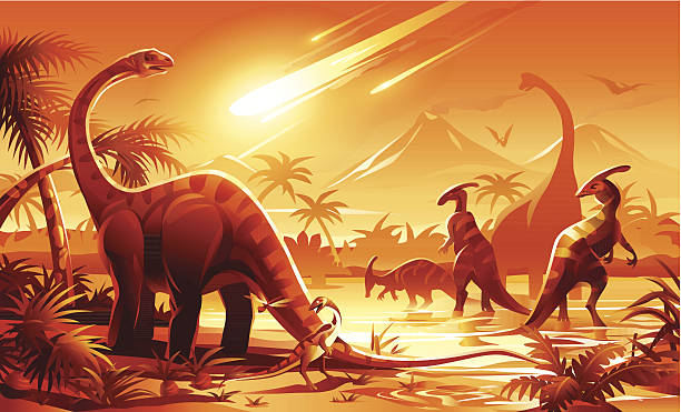 dinosaur extinction - dinosaur stock illustrations, clip art, cartoons, & icons