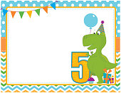 A vector illustration of a fifth birthday party invitation card featuring a dinosaur. Objects are grouped and layered for easy editing. Files included: AI, EPS10 and large high res JPG and PNG.