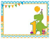 A vector illustration of a first birthday card with a dinosaur. Objects are grouped and layered for easy editing. Files included: EPS10, AI, large high res JPG and PNG.